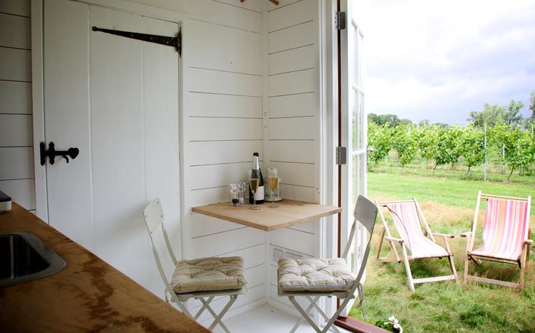 Shepherd hut at Oxney Organic Vineyard on Wine Cellar Door