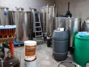 Winemaking equipment at Eglantine Vineyard