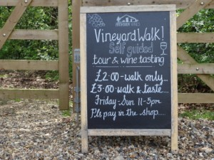 Vineyard walk sign