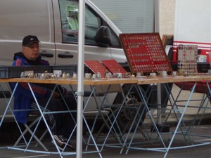 Champagne cap market stall, Reims