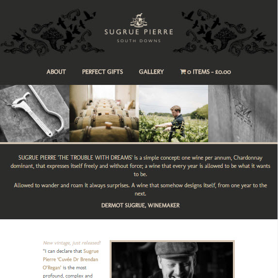 Website and online shop for Sugrue Pierre